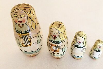 Vintage 4 Piece Russian Angel Nesting Dolls Hand Painted
