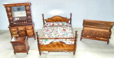 FOUR POSTER BED VINTAGE WALNUT #BB  DOLLHOUSE FURNITURE MINIATURES ON SALE