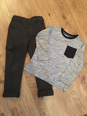 Next Trousers Cargo Smart Trousers Size 3-4 Years Old And Long Sleeve Top