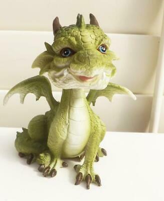 13cm CUTE  PUFF DRAGON B FIGURINE STATUE GREEN POLY RESIN FREE POST