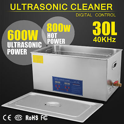 30L Ultrasonic Cleaner Stainless Steel Industry Heated Heater w/Timer USA RE