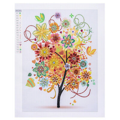 AU_ 40x50cm Colorful Tree Cross Stitch DIY Partial Home Cafe Diamond Painting My