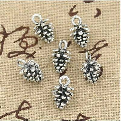 50Pcs Antique Tibet Silver Charms DIY 3D Pine Cone Pendants For Jewelry Finding