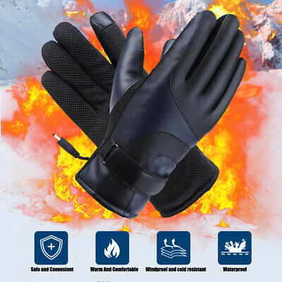 Motorbike Motorcycle Heated Gloves Winter Warm USB Charger PU Leather Gloves CA