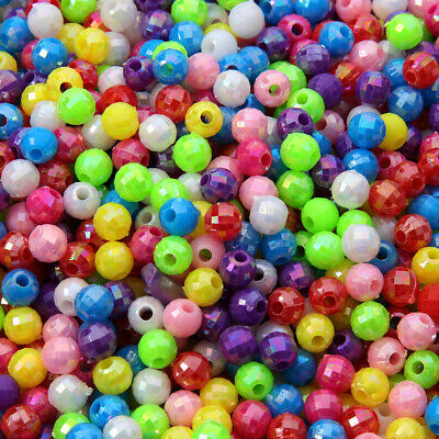 100pcs 6mm Acrylic Plastic Faceted Round Beads - AB Colour Mixed Jewelry making