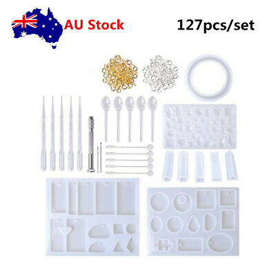 127Pcs DIY Resin Casting Mold Kit Silicone Making Jewelry Pendant Mould Surp AU