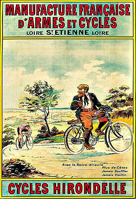 Art Ad Cycles Hirondelle Bicycle Bike Cycle  Deco   Poster Print