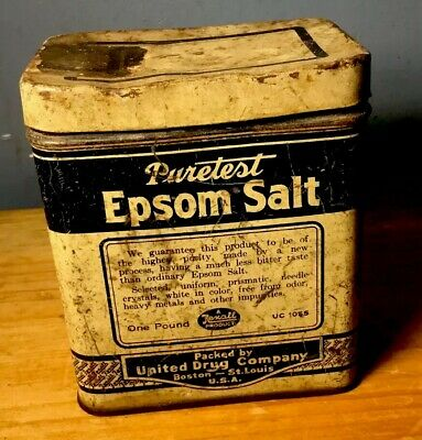 "Vintage Kitchen 4"" High  Rexall United Drug Co Puretest Epsom Salt Tin *Empty*"