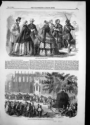 Old Print Removal Bell Great Clock Westminster Palace Paris Fashions 1856 19th