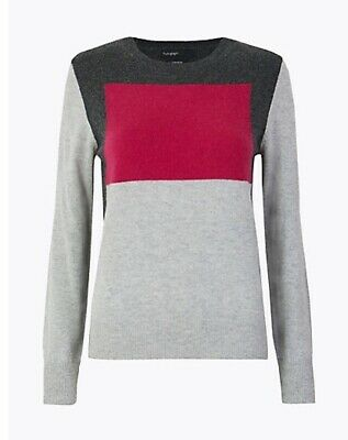 MARKS AND SPENCER AUTOGRAPH WOOL BLEND COLOUR BLOCK JUMPER 12 BNWT