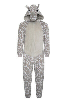 Mens Rhino 1Onesie All In One Boys Hooded Fleece Zip Jumpsuit Dress Up Onezee