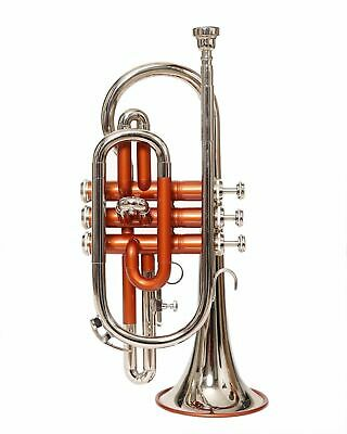 INDIAN SALE CORNET NICKEL + ORANGE Bb pitch with hard case and mp