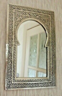 Hand Crafted* MOROCCAN ENGRAVED SILVER COLOUR POINTED ARCHED MIRROR 28 cm x 20cm