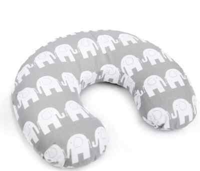 Feeding Pillow Baby Breast Pregnancy Maternity + Removable Cover Elephant Grey