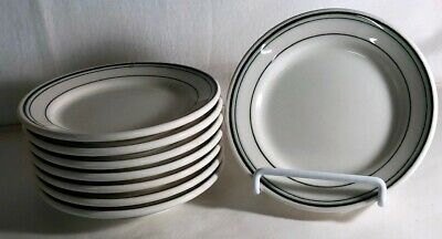 """8 Homer Laughlin Restaurant Ware Green Band 5 1/2"""" Bread And Butter Plates"""