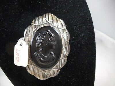 Large Vintage Lucite and Black Mourning Cameo Brooch