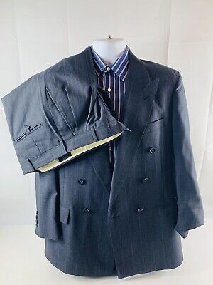 Stafford Mens Navy Striped Double Breasted 2pc Suit Sz 42 R Waist 32