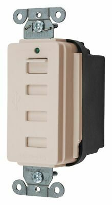 Hubbell Kellems Duplex Charger Receptacle, Number of USB Ports: 4, 5.0A @ 5VDC
