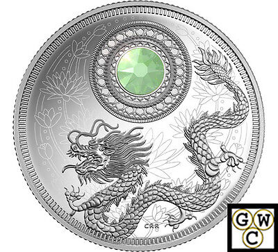 2016 October-Birthstones Crystal Prf $5 Silver Coin 1/4oz .9999 Fine(NT)(17769)