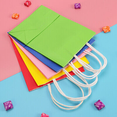 10PCS Kraft Paper Bags Gift Colorful Gift Package Food Paper Bags for Party Food
