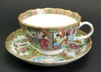 Antique 1800's Chinese Porcelain Rose Medallion Tea Cup & Saucer ~ A
