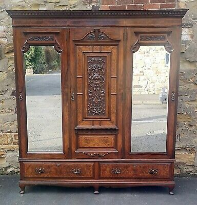 Edwardian Walnut Triple Door Wardrobe With Carved Decoration