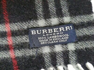 AUTHENTIC BURBERRY LAMBSWOOL SCARF NAVY CHECK LENGTH 64inch /160cm