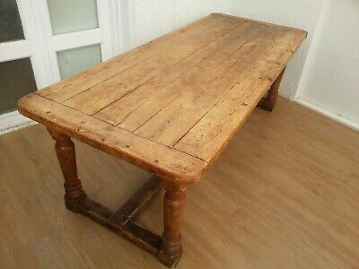ANTIQUE JACOBEAN STYLE SOLID WOOD CHUNKY DINING / KITCHEN TABLE - Delivery poss.