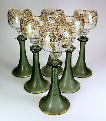 """6 Antique Bohemian  8"""" Tall Enameled Wine Stems Gold & White Floral ~ Beautiful"""