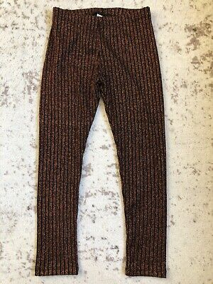 New Zara Girls Metallic Copper Rust Brown Ribbed Leggings Pants Size 9