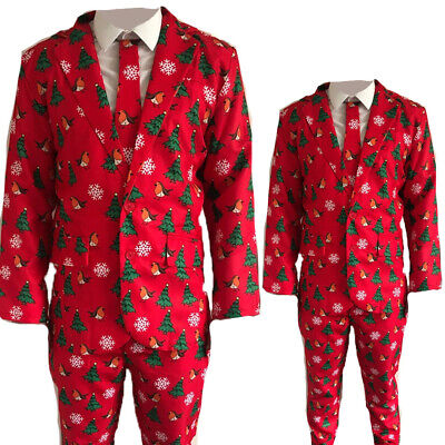 Mens Adults Novelty Christmas Suit Jacket Tie Trousers Festive Xmas Party R