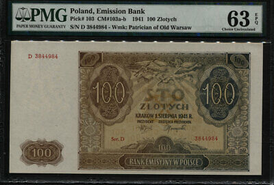 Tt Pk 103 1941 Poland - National Bank 100 Zlotych Pmg 63 Epq Choice Uncirculated