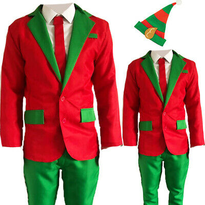 Mens Adults Novelty Elf Christmas Suit Jacket Tie Trousers Festive Xmas Party