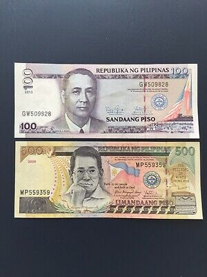 Philippines Peso 100 & 500 Denomination Bank Notes. Ideal For Collection