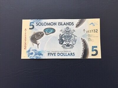 New Polymer 5 Dollars Solomon Island Bank Note. Ideal For An Avid Collector.