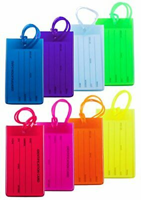 8 Packs Colorful Flexible Travel Luggage Tags for Baggage Bags/Suitcases - Name
