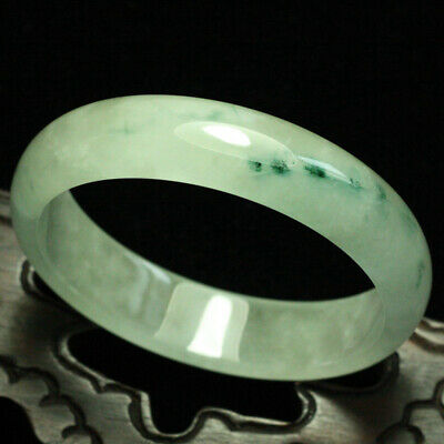 57mm Certified (Grade A) Natural ice Green Jadeite JADE Bracelet Bangle 1039