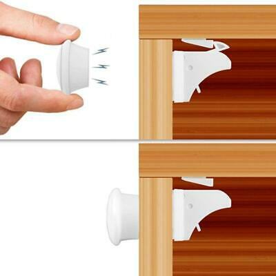 Magnetic Safety Invisible Cupboard Lock Baby Child Pet Drawer 4 Locks + 1 Key