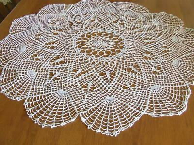 Very Large Round White Vintage Hand Crocheted Table Centre - 75 cm diameter