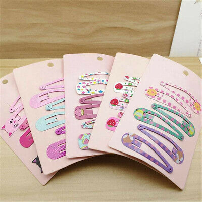 Lots 6pcs Charm Cute Hair Clips Snaps Hairpin Girls Baby Kids Hair Bow Accessory