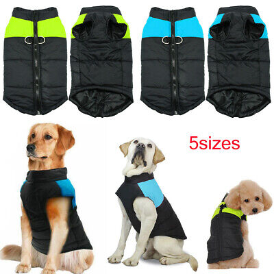 Pet Dog Vest Jacket Warm Waterproof Clothes Winter Padded Puppy Coat w/D-ring US