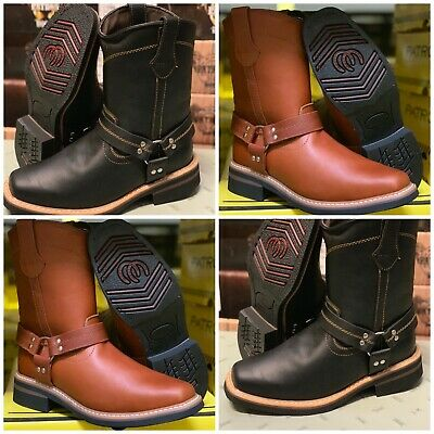 Mens Squared Biker Toe Work Boots Black And Honey Leather Clearance Items #805