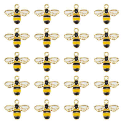 12PCS Colorful Alloy 14x12mm Honey Bee Pendant Charms for Bracelet Necklace