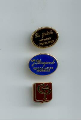 Lot 3 Pin's Zamac Alcara Chocolatier Patissier Lyon Marseille Tbe