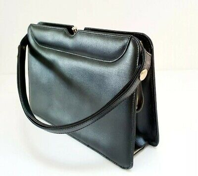 Vintage 1960s 1970s ACKERY OF LONDON Leather Top Handle Kelly Hanbag Mod Black