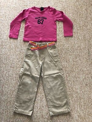 Children Girls Ralph Lauren Long Sleeve Pink Logo T shirt Beige trousers 3 Years