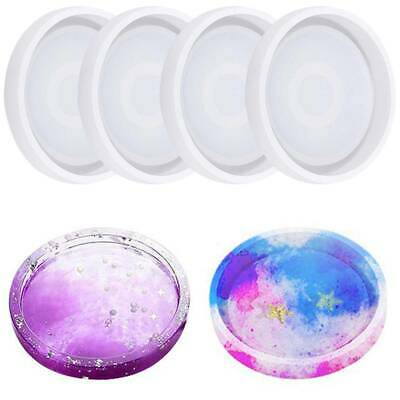4pcs Coaster Cup Mat Mold Round Silicone Mould for DIY Epoxy Resin Casting AU