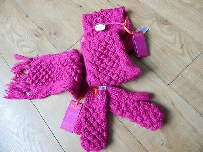 Bnwt Ted Baker Thick Knit Chunky Pink Scarf & Gloves (Mittens) Age 7-10 Years