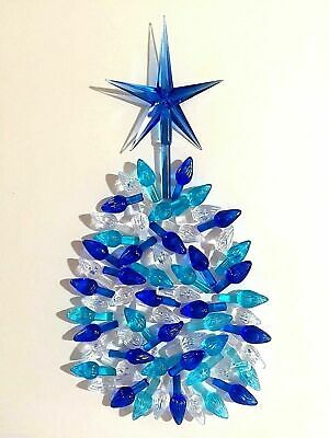 60 Medium Twist Bulbs and 1 Large Modern Blue Star for Ceramic Christmas Trees