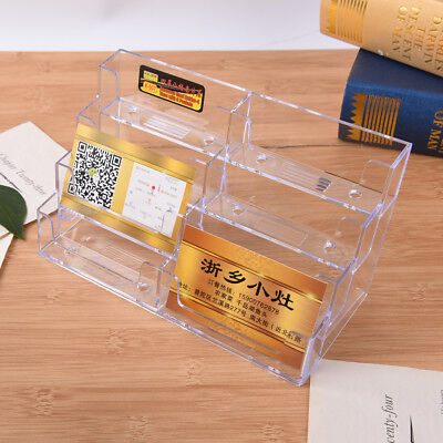 8 Pocket Desktop Business Card Holder Clear Acrylic Counter Stand Display ^^ ep